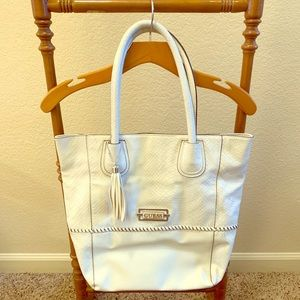 Guess Vintage White Leather Tote. Lightly used